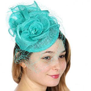 Sinamy Turquoise rose fascinator